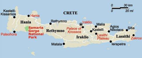 Carte Crete Gorges De Samaria.Grece 2008